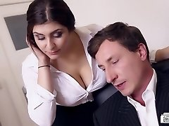 Bums BUERO - Huge-boobed German secretary fucks boss at the office