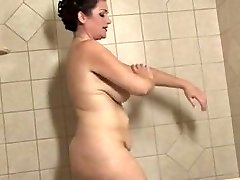 lush mature with big lips takes a bath