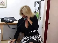 Mature assistant gets cum on her immense tits