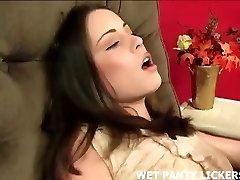 Pretty nubile sitter caught rubbing her pussy