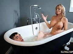 Immense knockers Cougars enjoying threesome sex in the bathtub