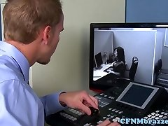 Big-chested office cfnm babes cockriding in three