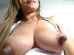 Large nipples on milk filled breast