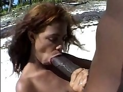 Fat brown nipples &Big brown cock on the beach.