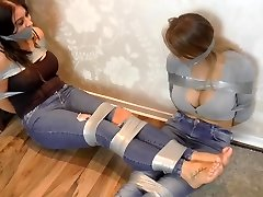 two big melon girls trussed up with ductape