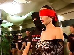 German Goo Gals - Blindfolded MILF bukkake gang-fuck