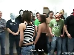 Huge-boobed Gal AT CZECH GANG BANG PARTY