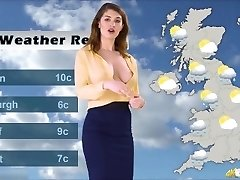 Katie's weather forecast, with no Hooter-sling beneath