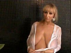 Suspending boobs  Slim beauty with saggy wonders