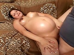 Clean-shaven pregnant biotch fucking for her luck