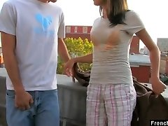 Ardent nympho Dolly P gets her taut cooch torn up on the roof