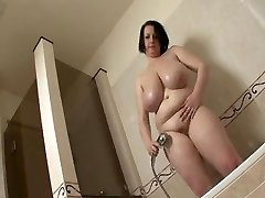 Big tit BBW take a shower