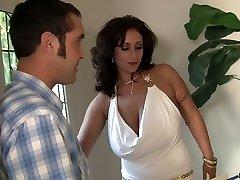 Huge boobed MILF Eva Notty anilingus her man before hardcore fuck