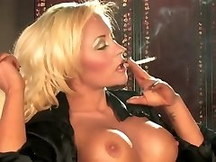 Hot Sexy Busty Light-haired Solo Smoking and Teasing