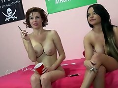 Duo of big breasted brunette hookers smoke after hot threesome