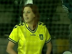 Brondby soccer fan showcases super-cute boobs in public