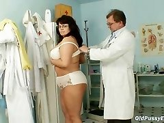 Busty mature lady Daniela bosoms and mature pussy gyno exam