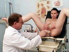 Busty stunner gyno exam by filthy elder doctor