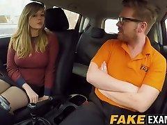 Curvy UK skank Madison Stuart banged at driving school truck