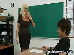 This busty blond Cougar of a tutor needs some indeed rough sex