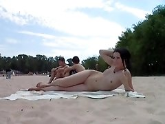 Beach sweeties with sweet young tits