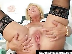 Blonde milf Greta hefty natural mammories and uniform