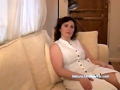 Big-boobed mature milf panty tease and striptease