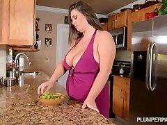 Busty Adult Movie Star Nikki Smith Pummels Hsbbys Friend in Kitchen