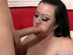 Chubby damsel titfucked before pussy drilling