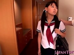 Asian schoolgirl Airi Sato banged by older male