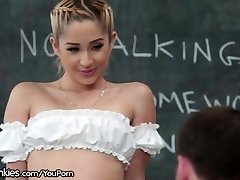 Slutty Teen College Girl Horny in Detention