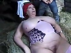 FRENCH BBW Grandmother OLGA FUCKED BY 2 Studs IN THE FARM