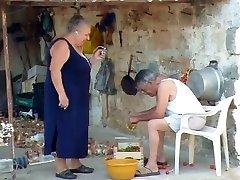 Plus-size italian Grandma Calls Grandpa to fuck