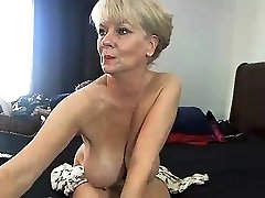 Chubby blond in cotton panties uses humungous toys