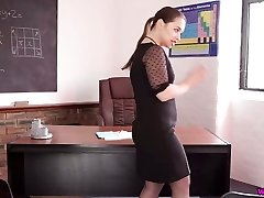 Very perverted Russian schoolteacher Olga spreads gams and shows off her cunt