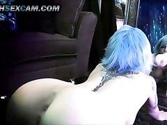 Mirror Fuck Stick Fuck Dual Penetration Blue Hair Tattoo Emo Cam Slut Punk HD