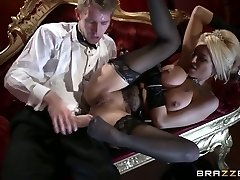 Erotic blonde with delicious melons  rides man rod and gives her head at the theater