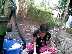 Bangla desi shameless village mate-Nupur bathing outdoor