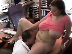 Huge titties bouncing in the office