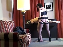 Svelte French nympho Mya Lorenn rides her submissive dude's wood
