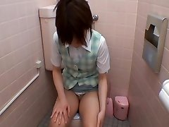 Asian bares off tits and beaver to get orgasm on restroom cam