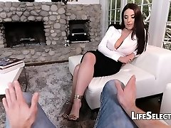 Busty Cougar Angela Milky enjoys foot fetish with her cotenant