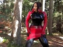 Busty Halloween Beauty - Outdoor Fellatio Hj with Latex Gloves - Spunk on my Gloves