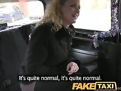 FakeTaxi Curly hair ash-blonde takes it from behind in cab
