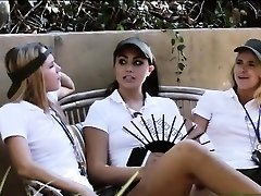 Gang of naughty camp counselors lesbian sesh outdoors