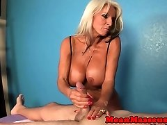 Busty titfucked granny in jism control session