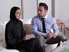 Big boobed hijab Ella Knox gets nailed missionary style hard enough
