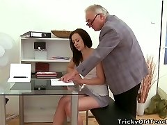 Pretty brunette nubile tempted by a horny elderly man with big belly