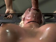 Drool caked face from BDSM face fuck