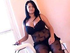 BBW in arousing black lingerie